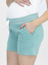 Cotton Maternity Summer Shorts in Sage
