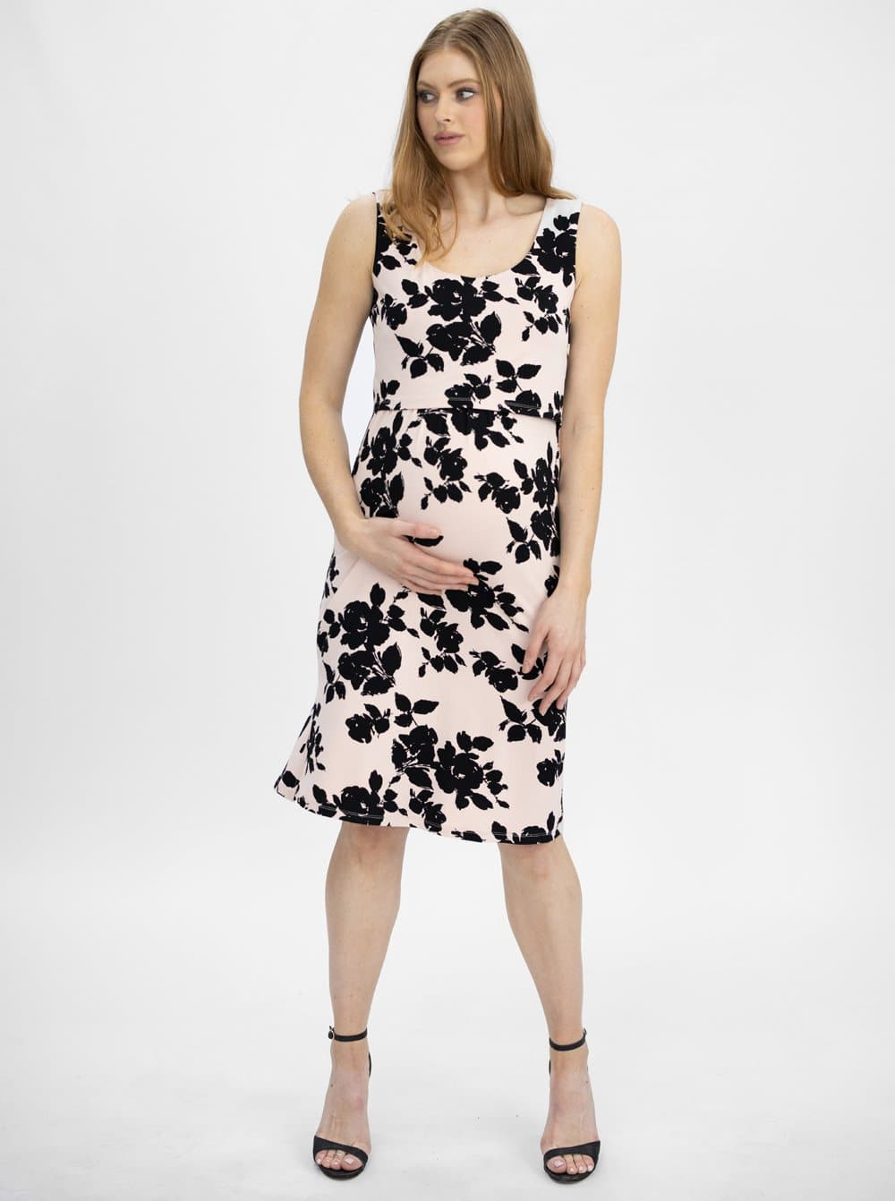 Maternity & Nursing Sleeveless Dress - Pink & Black Floral