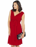 Breastfeeding Crossover V-Neck Party Dress - Red
