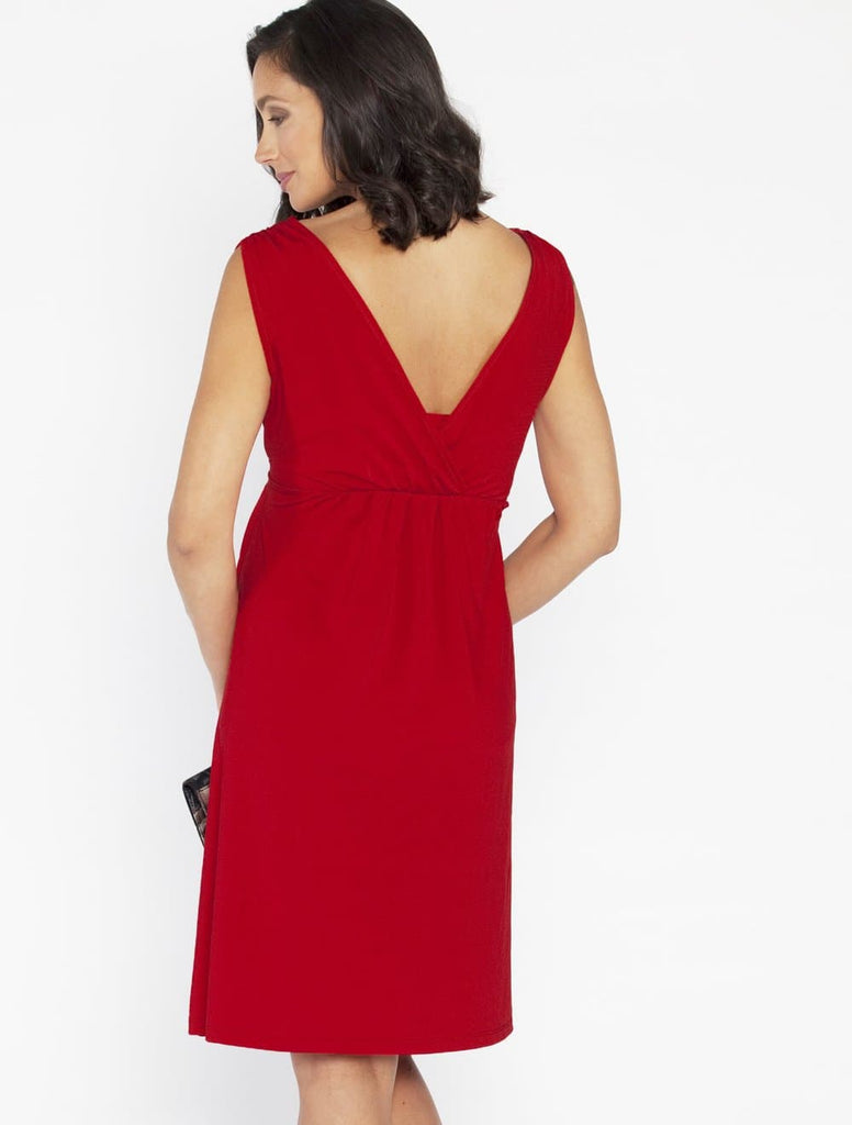 Breastfeeding Crossover V-Neck Dress - Red - Angel Maternity - Maternity clothes - shop online