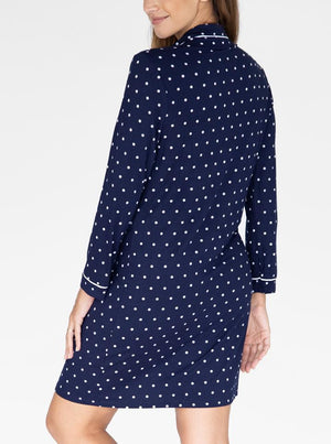 Maternity Nightie Nursing Sleep Dress - Navy Polkadots