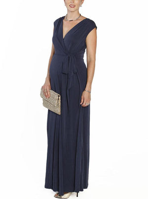 Angel Maternity Nursing V-Neck Long Maxi Party Dress - Navy
