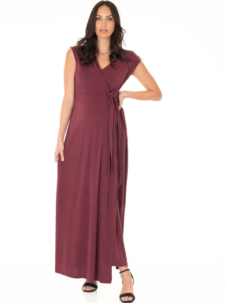 Angel Maternity Nursing V-Neck Long Maxi Party Dress - Red - Angel Maternity - Maternity clothes - shop online