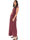 Maternity Nursing V-Neck Long Maxi Party Dress - Red Earth