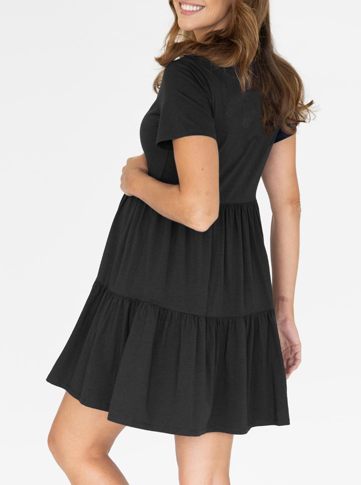 Maternity Tiered Dress in Black back