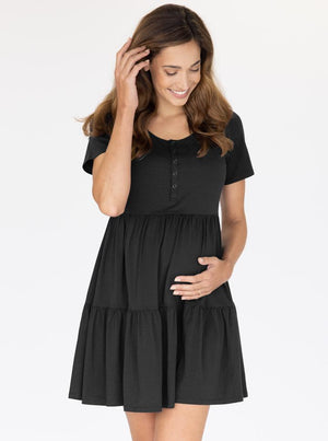 Maternity Tiered Dress in Black front
