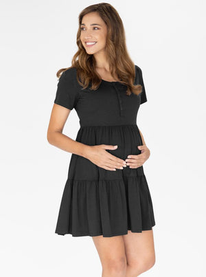 Maternity Tiered Dress in Black main