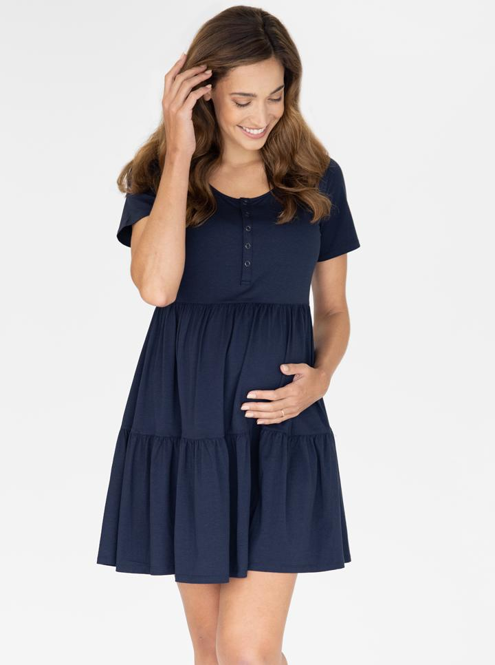 Maternity Tiered Dress in Navy main