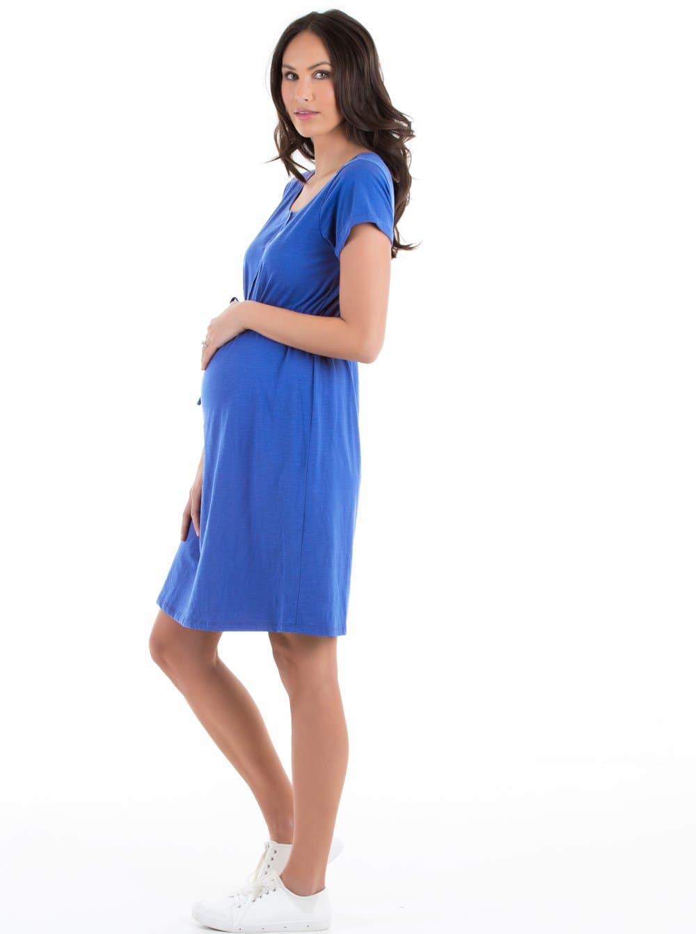 Maternity & Nursing Drawstring Dress - Khaki
