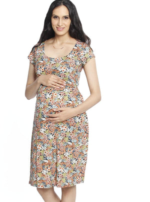 Busy Mummy Maternity Dress with Easy Nursing Opening - Rustic Flowers