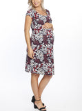 Maternity Bodycon Dress with Easy Nursing Opening - Floral pregnancy clothing