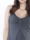 Nursing Sleeveless Nightie Dress - Dark Grey