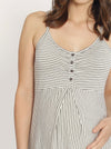 Nursing Sleeveless Nightie Dress - Grey Stripes