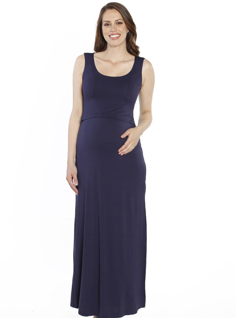 Breastfeeding Maxi Busy Mama Nursing Dress in Navy - Angel Maternity - Maternity clothes - shop online