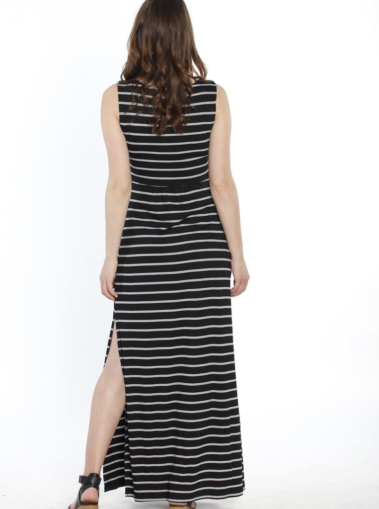 Breastfeeding Maxi Busy Mama Nursing Dress in Thin Black & White Stripes - Angel Maternity - Maternity clothes - shop online