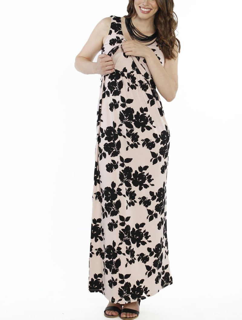 Breastfeeding Maxi Busy Mama Nursing Dress - Floral in Pink - Angel Maternity - Maternity clothes - shop online