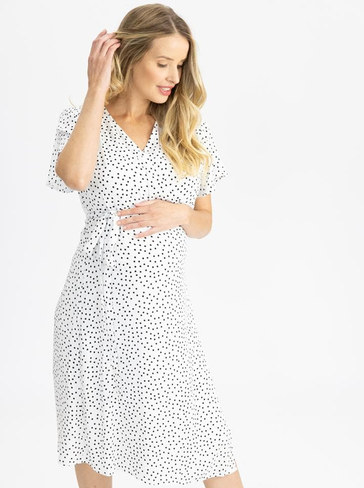 Maternity and Nursing Wrap Dress with Polka Dots in Knee Length
