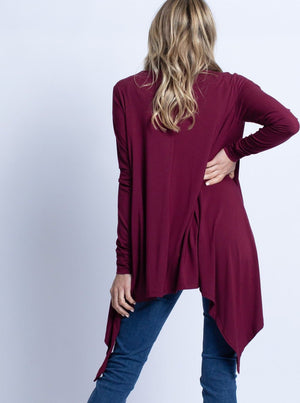 Maternity Waterfall Long Cardigan - Red Burgundy
