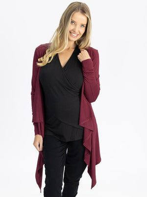 Maternity Waterfall Long Cardigan - Red Burgundy front