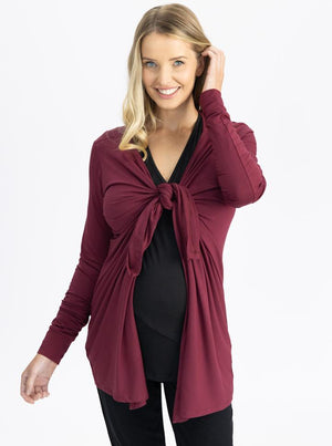Maternity Waterfall Long Cardigan - Red Burgundy tie up