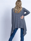 Maternity Waterfall Long Cardigan - Navy Stripes