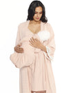 Sleep Robe + Nursing Dress + Matching Baby Wrap  - Pink Stripes