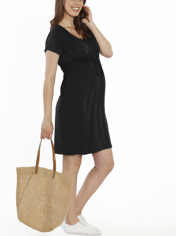 Busy Mummy Cotton Nursing Dress in Black