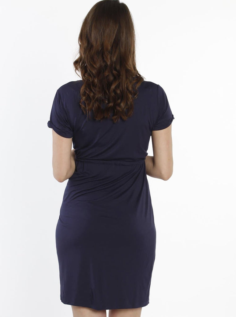 TMD The Mummy Drawstring Dress - Navy - Angel Maternity - Maternity clothes - shop online