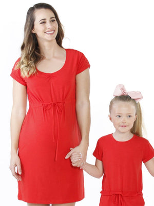 Maternity Pull String Waist Dress - Chili Red