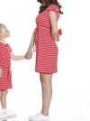 TMD - The Mummy Drawstring Dress - Red & White Stripes
