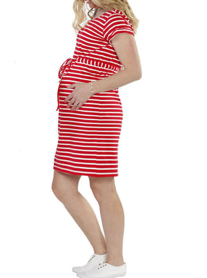 TMD - The Mummy Drawstring Dress - Red & White Stripes - Angel Maternity - Maternity clothes - shop online