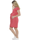 Maternity Pull String Waist Dress - Red & White Stripes