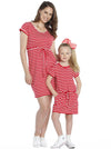 Maternity Pull String Waist Dress - Red & White Stripes kids