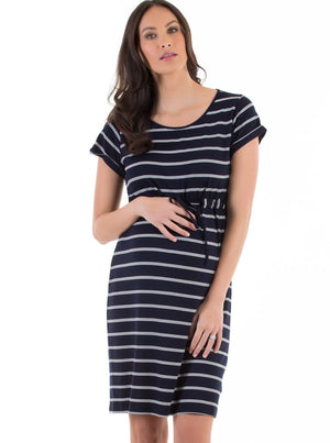 Maternity Drawstring Dress - Navy & White Stripes
