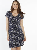 Maternity Pull String Waist Dress - Floral Print front