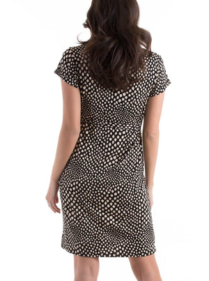 Maternity Drawstring Dress - Black & Cream Spots