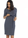 The Mummy Drawstring Half Sleeve Dress - Navy & White Stripes