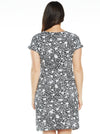 Maternity Drawstring Dress - Black & White Daisy