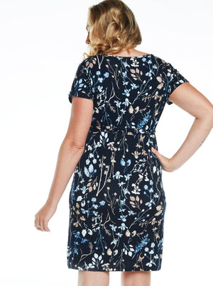 Maternity Drawstring Dress - Navy Floral