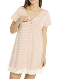 Ruby Joy Button Front Nursing Sleep Dress - Pink Stripe maternity fashion online store
