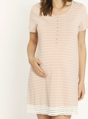 Ruby Joy Button Front Nursing Sleep Dress - Pink Stripe maternity sleepwear