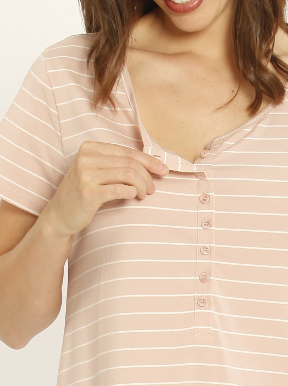 Ruby Joy Button Front Nursing Sleep Dress - Pink Stripe
