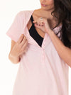 Button Front Nursing Sleep Dress - Baby Pink
