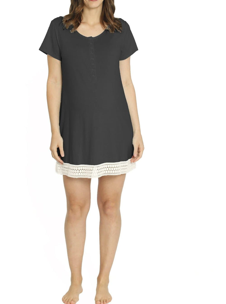 Ruby Joy Button Front Nursing Sleep Dress - Black