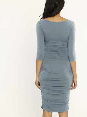 Bamboo Story Body Hugging Maternity Dress - Powder Blue