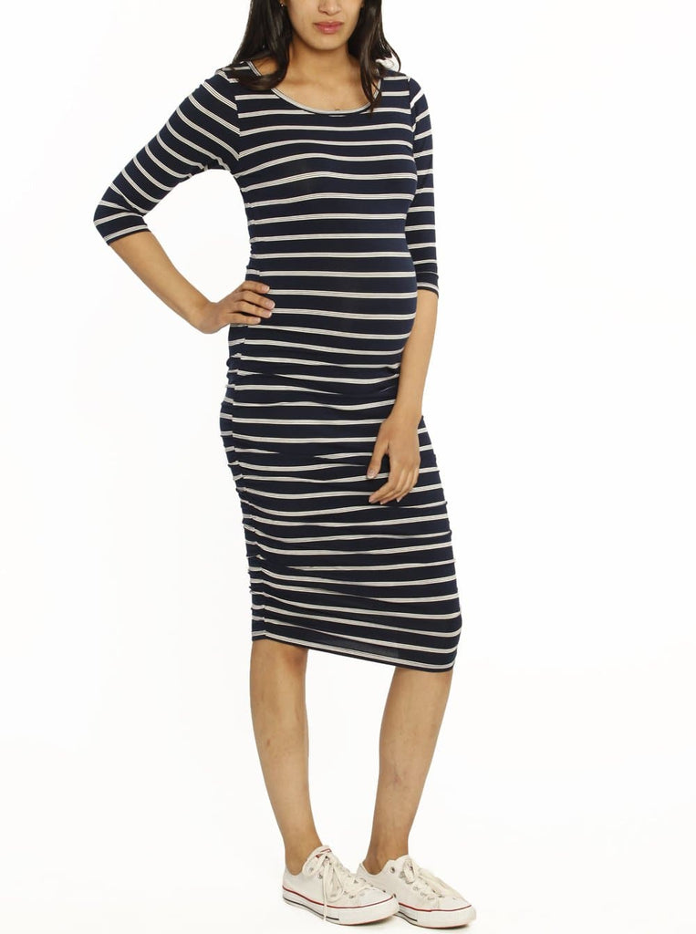 Ruby Joy Bamboo Story Body Hugging Maternity Dress - Navy Stripes
