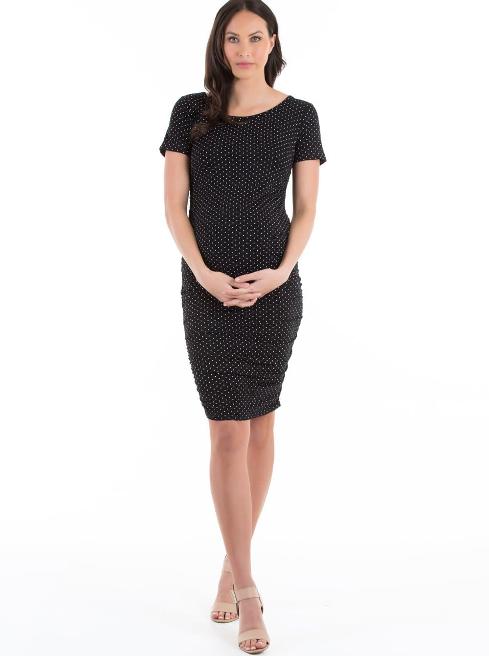 Body Hugging Maternity Dress - Black & White Spots