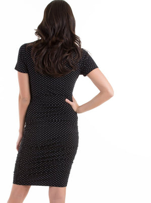 Body Hugging Maternity Dress - Black & White Polka Dot