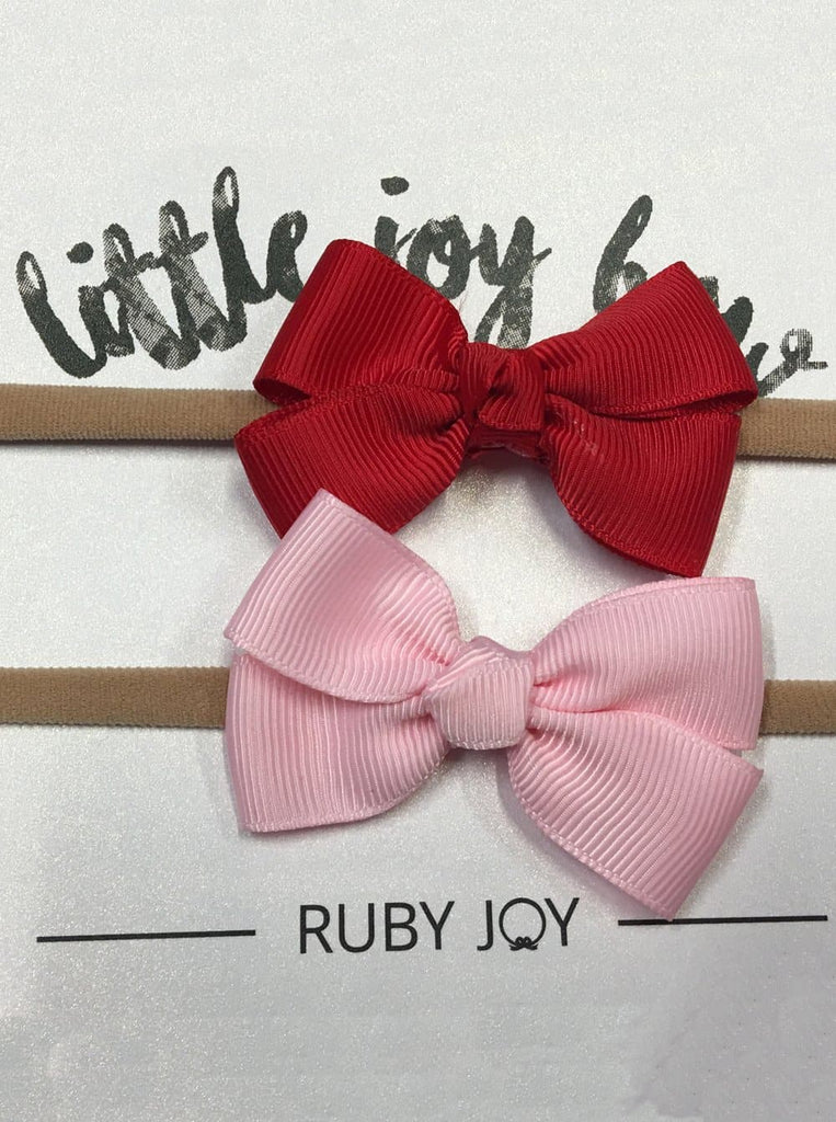Ruby Joy Bow - 2 piece set - Pink & Red