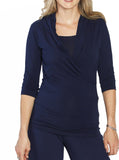 Maternity V-Neck Crossover Bamboo Top - Navy